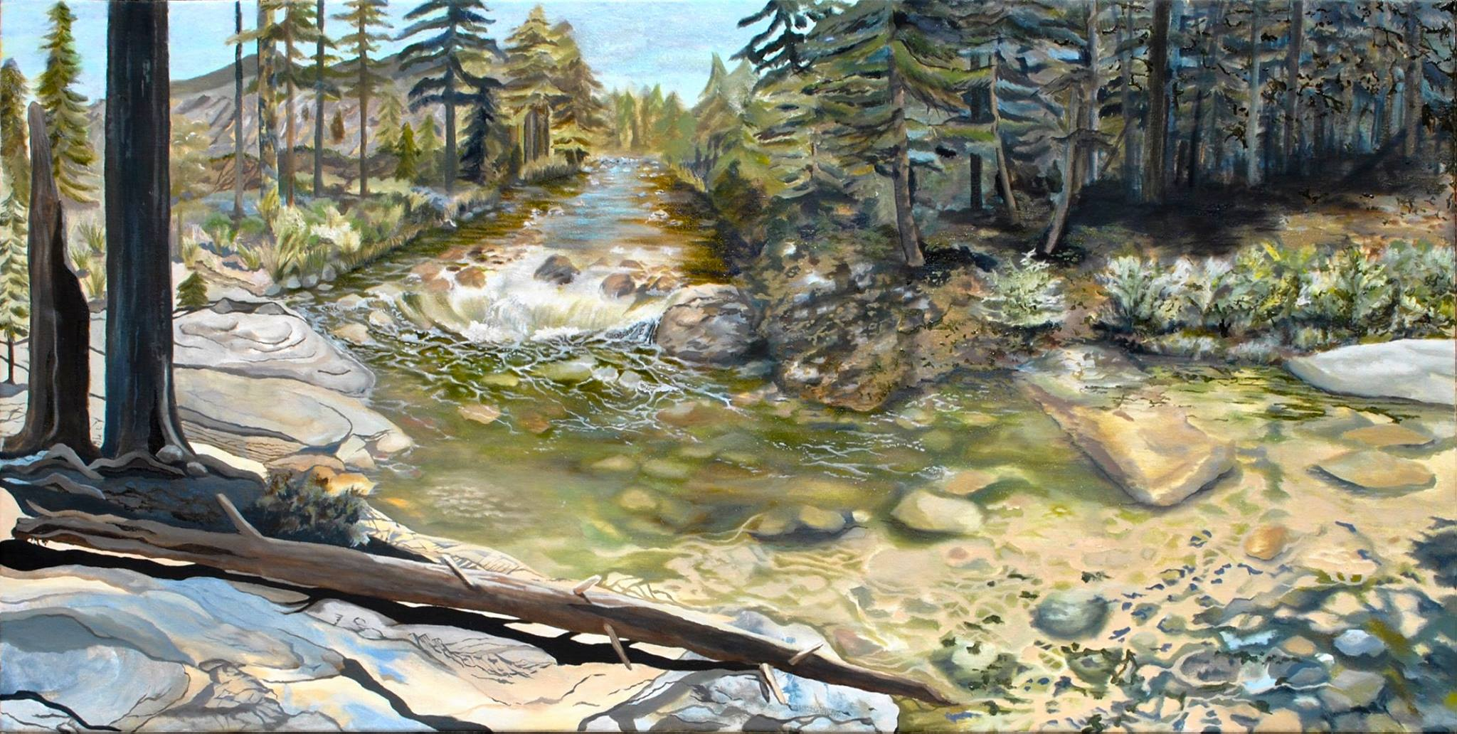American River, oil painting, california, day, trees, rocks
