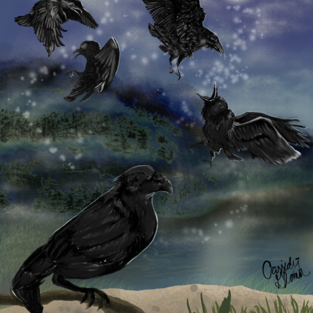 beatles blackbird, digital illustration, photoshop