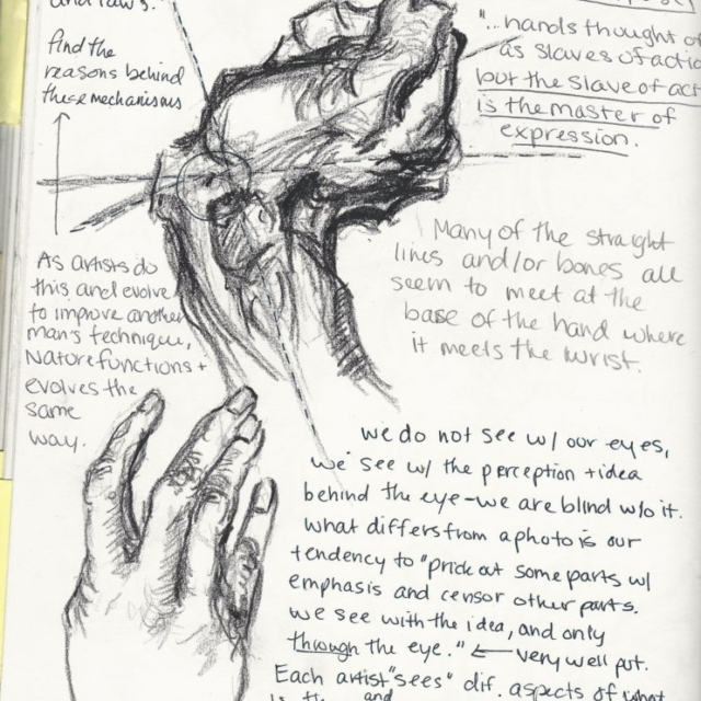 sketchbook notes, Hartford Art School
