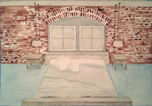 watercolor, painting, urban, bedroom, illustration, brick, wall, bed, lamps, lamp, lighting, window, table