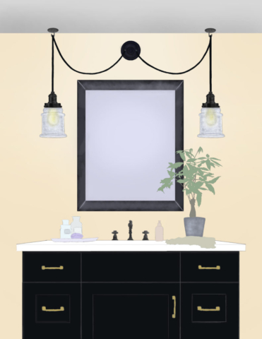 swag light, swag lighting, bathroom, digital illustration, illustration, home