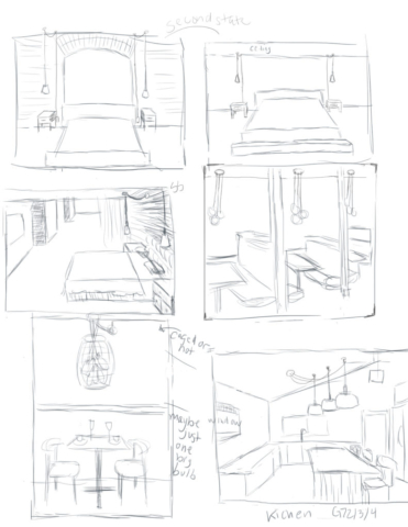 thumbnail, sketches, sketch, thumbnails, living room, kitchen, restaurant, beroom, home, lights, lighting