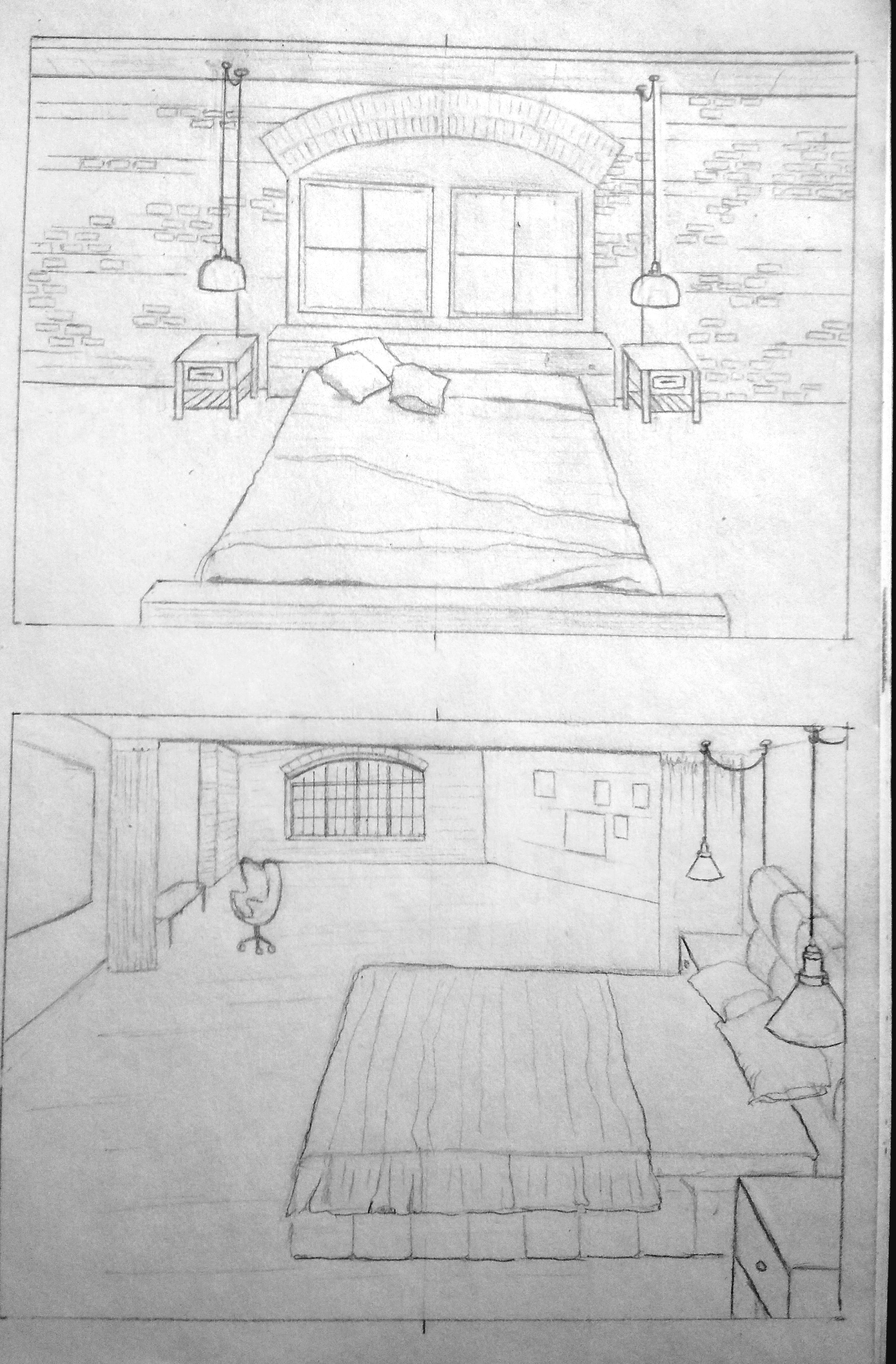 bedroom, sketch, sketches, drawing, pencil, illustration, technical