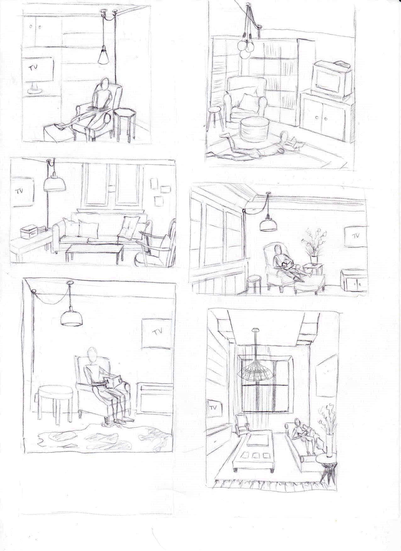 thumbnail, drawings, sketches, sketch, drawing, living room, linework, lamps, lighitng, lamp, swag light